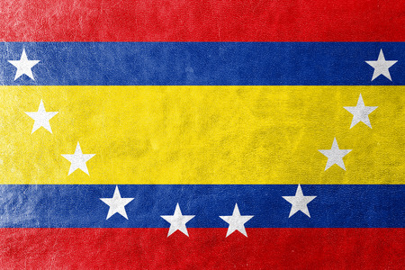 loja: Flag of Loja Province, Ecuador, painted on leather texture