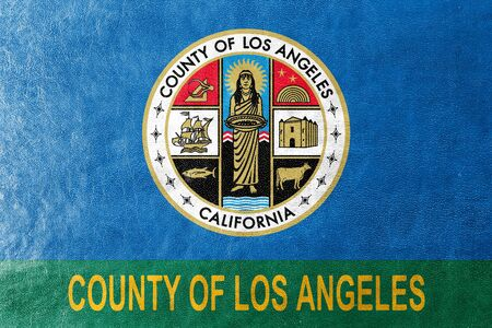 los angeles county: Flag of Los Angeles County, California, USA, painted on leather texture