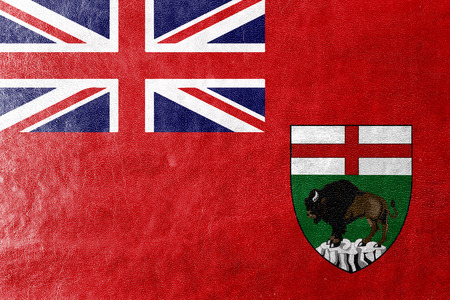 manitoba: Flag of Manitoba Province, Canada, painted on leather texture