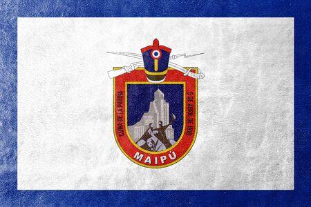 Bandera de Maipú, Chile, pintado en textura de cuero