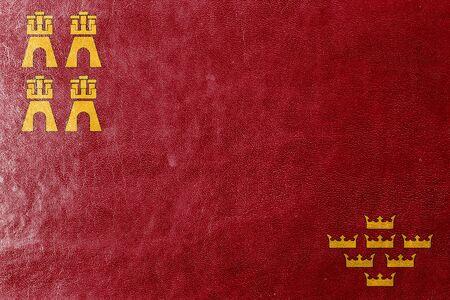 murcia: Flag of Murcia Region, Spain, painted on leather texture Stock Photo