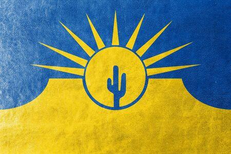 polity: Flag of Mesa, Arizona, USA, painted on leather texture
