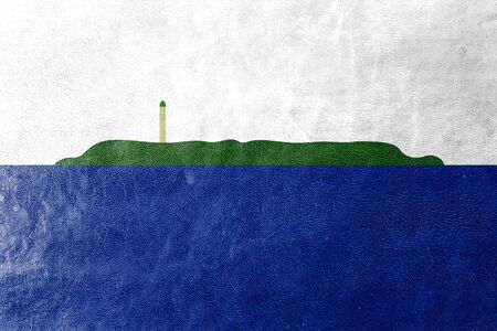 disputed: Flag of Navassa Island (unofficial, disputed), painted on leather texture Stock Photo