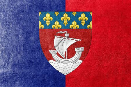 escutcheon: Flag of Paris with Coat of Arms (Escutcheon only), France, painted on leather texture