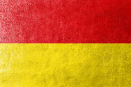 polity: Flag of Paderborn, Germany, painted on leather texture Stock Photo
