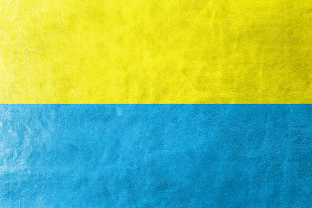 polity: Flag of Opole, Poland, painted on leather texture