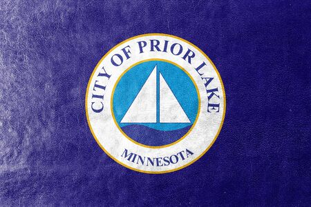 prior lake: Flag of Prior Lake, Minnesota, USA, painted on leather texture