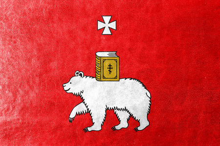 Flag of Perm, Russia, painted on leather texture