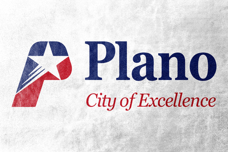 plano: Flag of Plano, Texas, USA, painted on leather texture