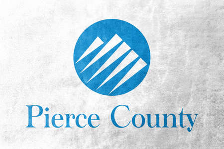 pierce: Flag of Pierce County, Washington, USA, painted on leather texture