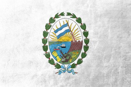 fe: Flag of Rosario, Santa Fe, Argentina, painted on leather texture
