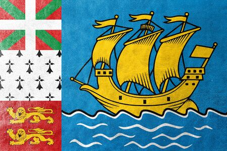 unofficial: Flag of Saint Pierre and Miquelon (unofficial), painted on leather texture Stock Photo