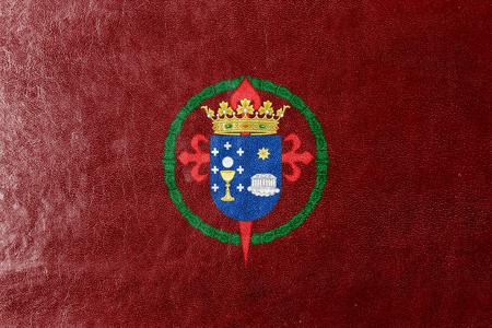 compostela: Flag of Santiago de Compostela, Spain, painted on leather texture