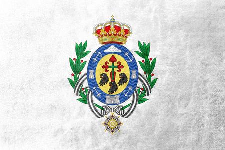 santa cruz de tenerife: Flag of Santa Cruz de Tenerife, Spain, painted on leather texture Stock Photo