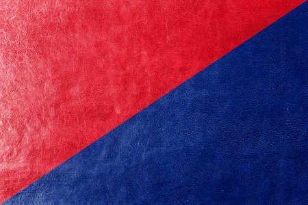 san pedro: Flag of San Pedro de Riobamba, Ecuador, painted on leather texture Stock Photo