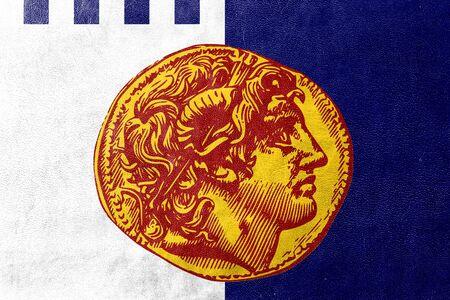 thessaloniki: Flag of Thessaloniki, Greece, painted on leather texture