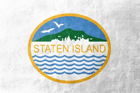 staten: Flag of Staten Island, New York, USA, painted on leather texture