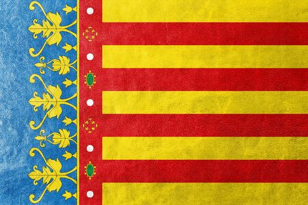 valencian: Flag of Valencian Community, Spain, painted on leather texture