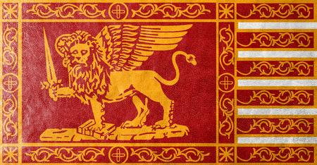 administrativo: Bandera de Venecia, Italia, pintada en textura de cuero Foto de archivo