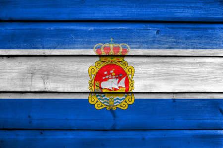 aviles: Flag of Aviles, Spain, painted on old wood plank background