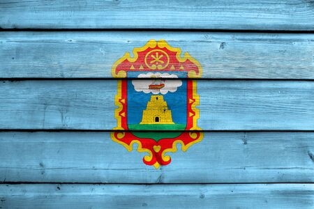 bandera de peru: Flag of Ayacucho, Peru, painted on old wood plank background