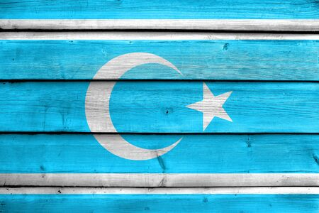 Flag of Iraqi Turkmen Front, painted on old wood plank background Stock Photo