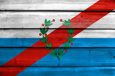 Flag of La Rioja Province, Argentina, painted on old wood plank background Stock Photo