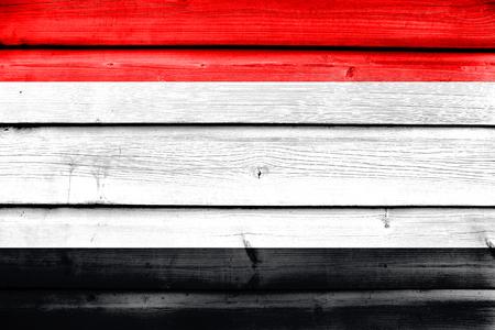 polity: Flag of Kuyavian-Pomeranian Voivodeship, Poland, painted on old wood plank background
