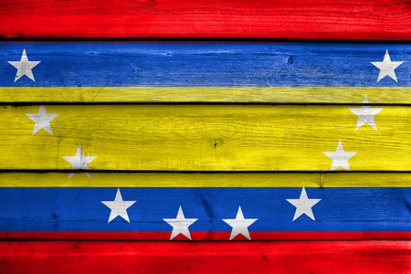 Flag of Loja Province, Ecuador, painted on old wood plank background