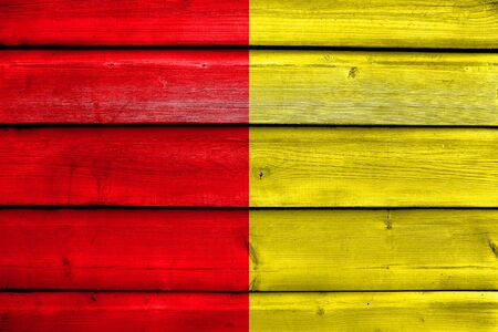 liege: Flag of Liege, Belgium, painted on old wood plank background