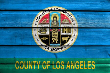 Flag of Los Angeles County, California, USA, painted on old wood plank background Stock Photo
