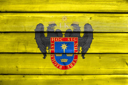 lima province: Flag of Lima, Peru, painted on old wood plank background