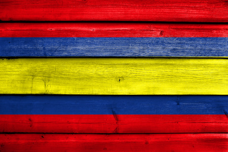 loja: Flag of Loja, capital of Loja Province, Ecuador, painted on old wood plank background