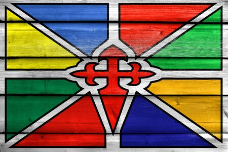 polity: Flag of Merida, Venezuela, painted on old wood plank background Stock Photo