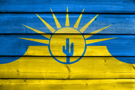 polity: Flag of Mesa, Arizona, USA, painted on old wood plank background Stock Photo