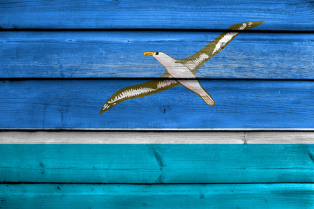 unofficial: Flag of Midway Atoll (unofficial), painted on old wood plank background