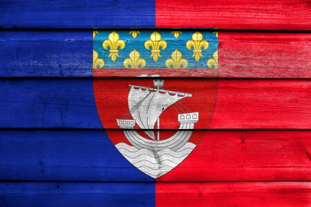 escutcheon: Flag of Paris with Coat of Arms (Escutcheon only), France, painted on old wood plank background