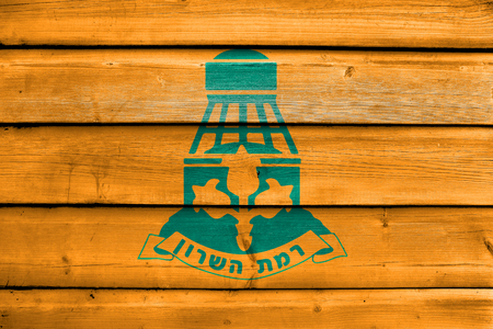 jewish community: Flag of Ramat HaSharon, Israel, painted on old wood plank background