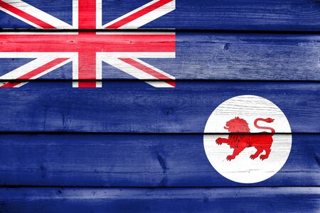 Flag of Tasmania State, Australia, painted on old wood plank background Stock Photo
