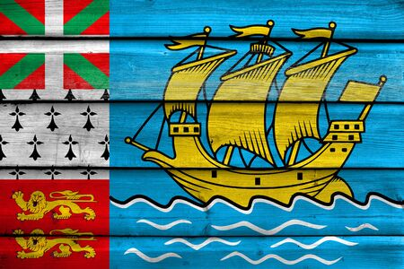 unofficial: Flag of Saint Pierre and Miquelon (unofficial), painted on old wood plank background