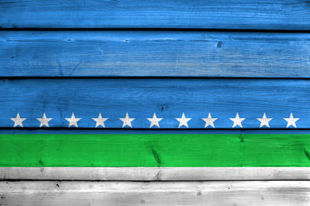 san jose: Flag of San Jose, Costa Rica, painted on old wood plank background
