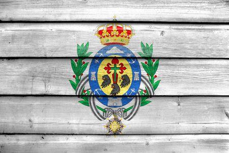 santa cruz de tenerife: Flag of Santa Cruz de Tenerife, Spain, painted on old wood plank background Stock Photo