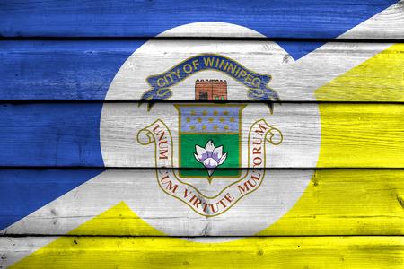 winnipeg: Flag of Winnipeg, Manitoba, Canada, painted on old wood plank background Stock Photo