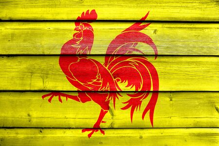 walloon: Flag of Walloon Region (Wallonia), Belgium, painted on old wood plank background