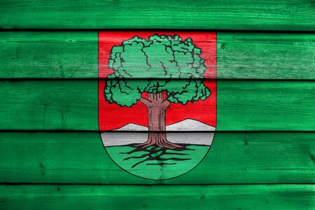 polity: Flag of Walbrzych, Poland, painted on old wood plank background