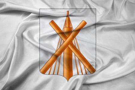 belarus: Waving Flag of Babruysk, Belarus Stock Photo