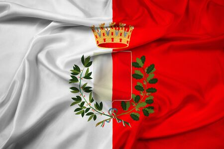 polity: Waving Flag of Bari with Coat of Arms, Italy Stock Photo