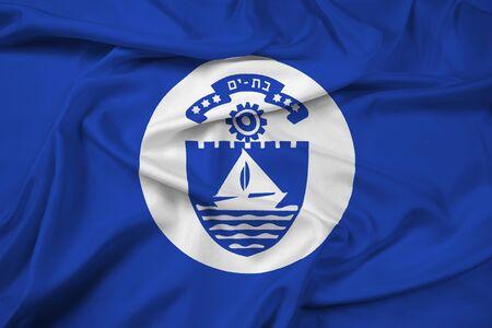 yam israel: Waving Flag of Bat Yam, Israel Stock Photo