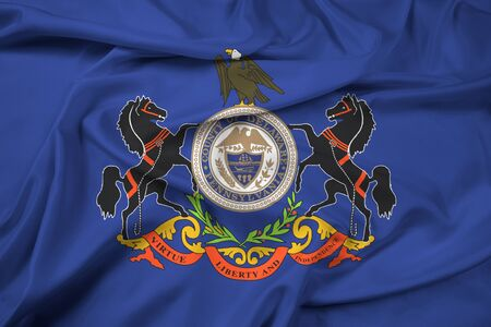polity: Waving Flag of Delaware County, Pennsylvania, USA Stock Photo