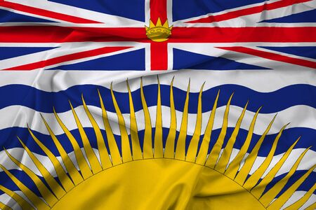 Waving Flag of British Columbia Province, Canada